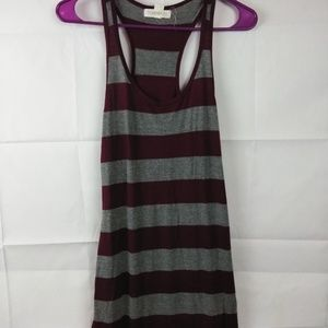 P96 Forever 21 Maroon Gray Small Stripe Maxi Dress